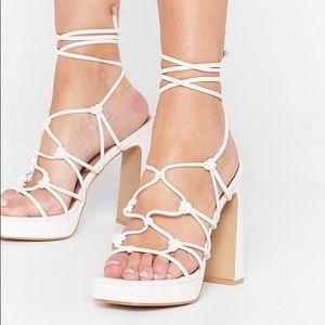 White Lace Up Platform Heels
